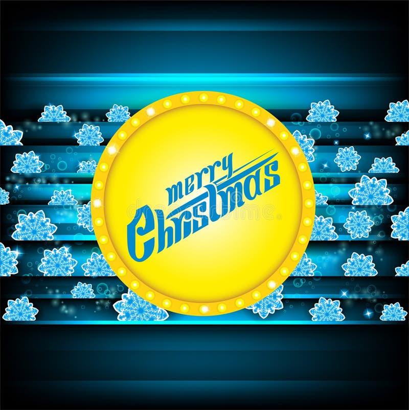 Lettrage de Joyeux Noël sur le fond bleu-foncé de ND de bannière jaune de cercle avec les flocons de neige bleus Noël de vecteur illustration libre de droits