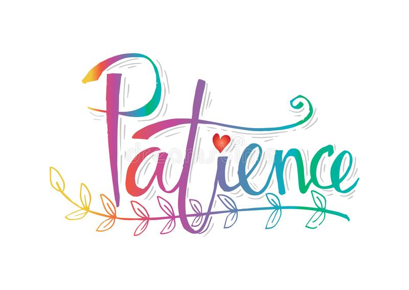 Lettrage de la patience illustration stock