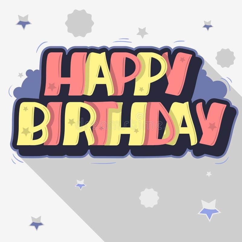 Lettrage de label de style de graffiti de carte de voeux de joyeux anniversaire Cus illustration stock