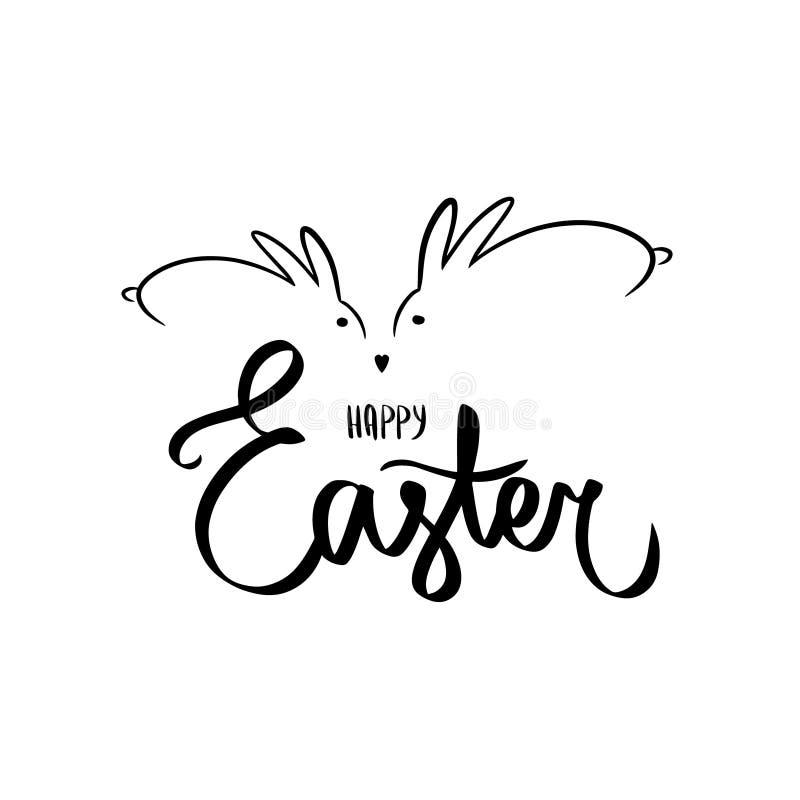 Lettrage de main de brosse de lapin de Pâques sur le fond blanc Descripteur pour l'invitation illustration stock