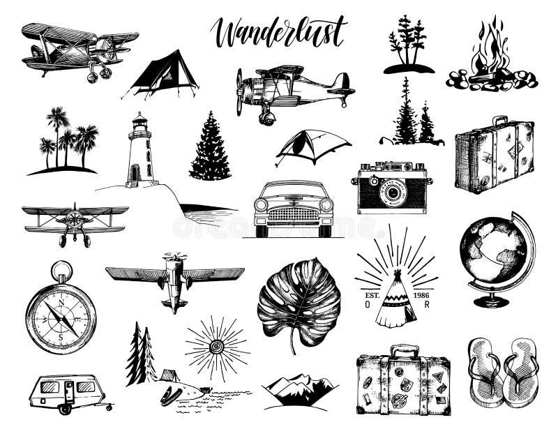 Lettrage de main d'envie de voyager dans le vecteur Graphismes de course réglés Collection tirée d'illustrations Symboles extérie illustration stock