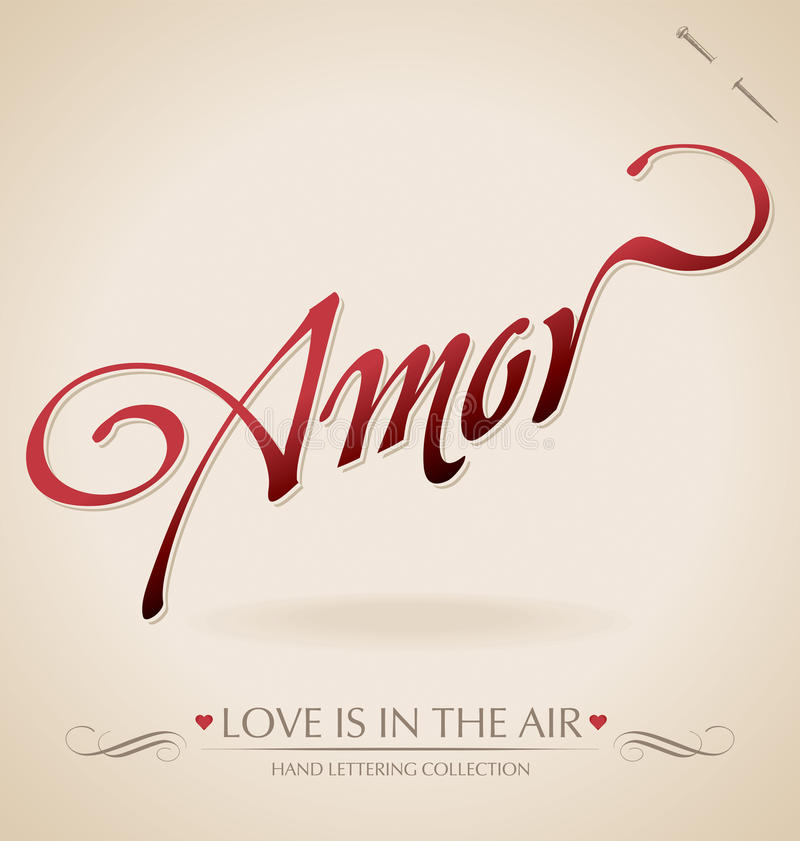 Lettrage de main de « Amor » () illustration stock