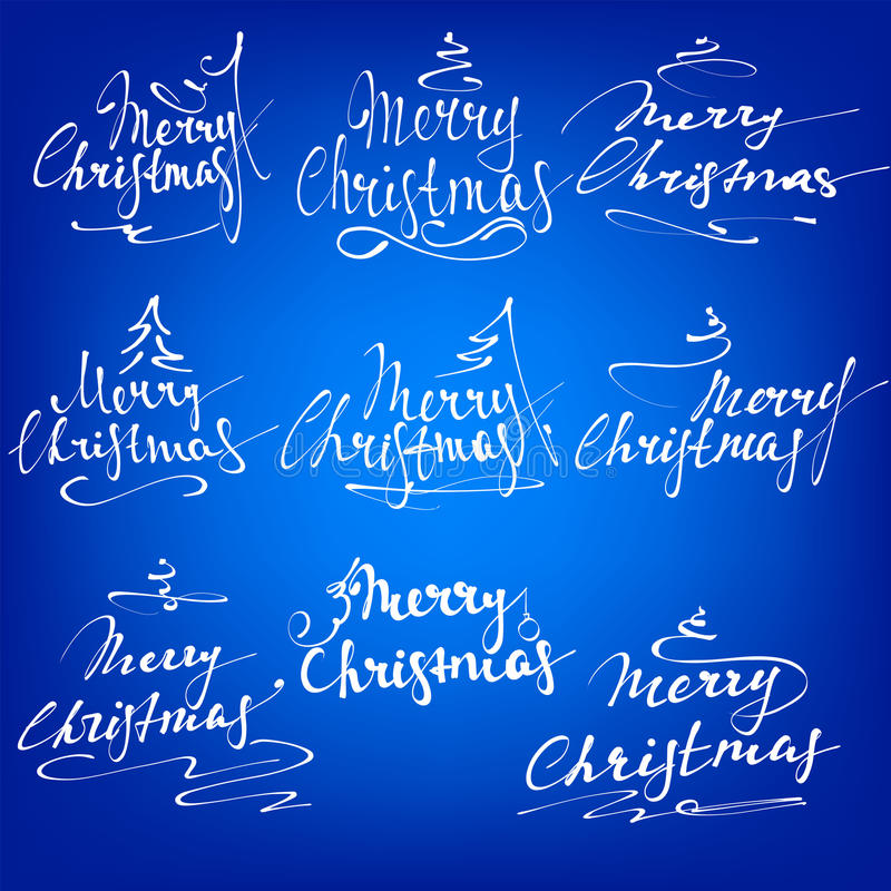 Lettrage de main de collection de Joyeux Noël - calligraphie faite main illustration libre de droits