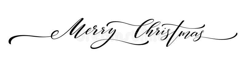 Lettrage de main de Joyeux Noël d'isolement Illustration de vecteur illustration stock