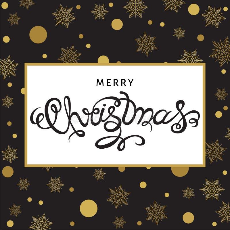Download Lettrage De Main De Joyeux Noël Sur Le Fond Avec Le Snowfla D'or Illustration de Vecteur - Illustration du invitation, calligraphie: 77162489