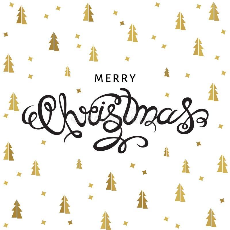 Download Lettrage De Main De Joyeux Noël Sur Le Fond Avec Les Sapins D'or Illustration de Vecteur - Illustration du réception, drapeau: 77162070