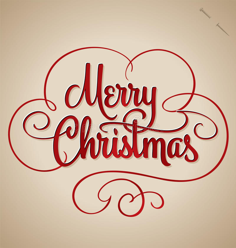 Lettrage de main de Joyeux Noël (vecteur) illustration stock