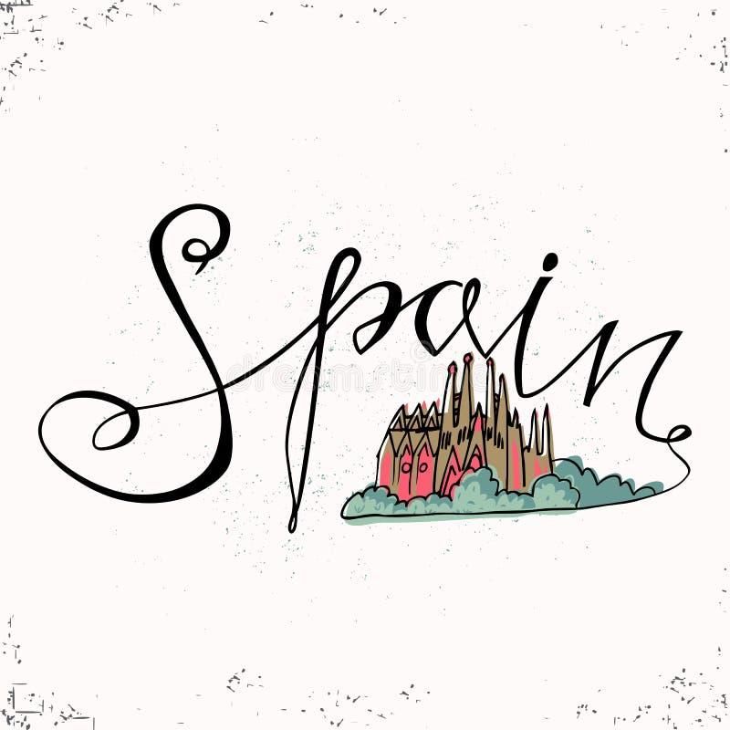 Lettrage de main de l'Espagne et famille sainte d'église à Barcelone Illustration de vecteur Les lettres tirées par la main Inscr illustration de vecteur