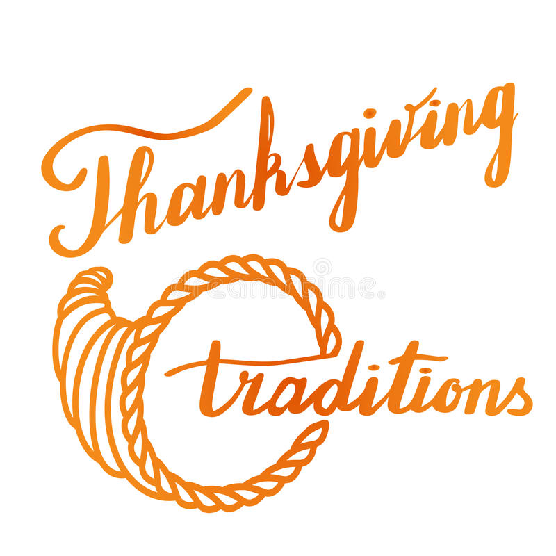 Lettrage de main de thanksgiving et conception de calligraphie illustration libre de droits