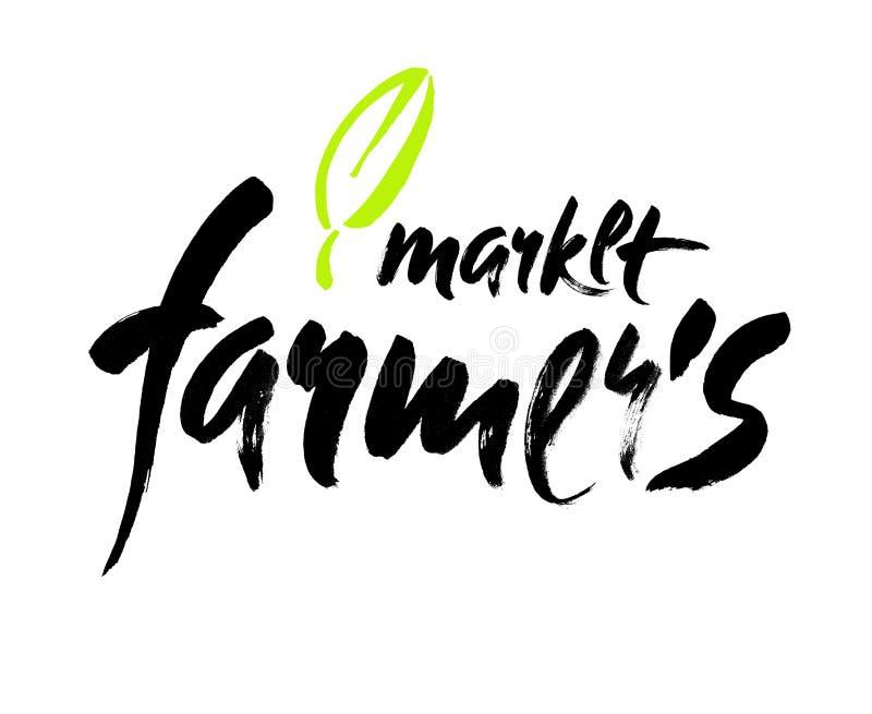 Lettrage de main du marché d'agriculteurs, rétro style de vintage Illustration tirée par la main de typographie illustration libre de droits