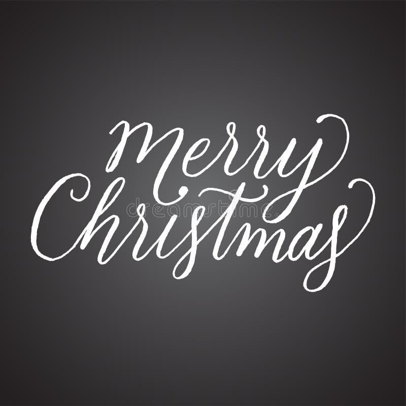 Lettrage de main de Joyeux Noël de tableau illustration de vecteur