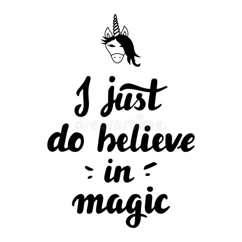 Lettrage de main que je juste crois à la magie illustration de vecteur