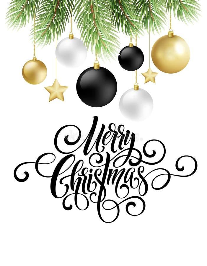 Lettrage de manuscrit d'écriture de Joyeux Noël Fond de salutation avec un arbre et des décorations de Noël Vecteur illustration libre de droits