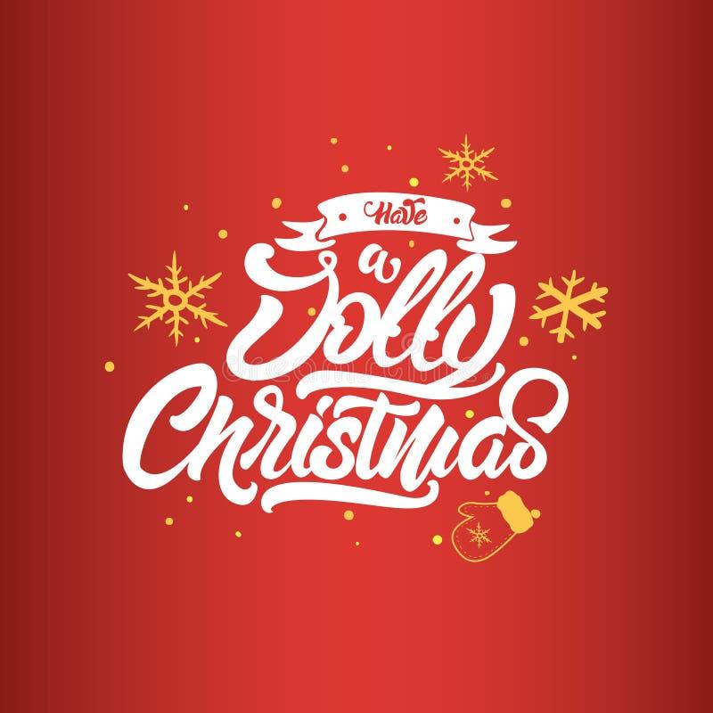 Lettrage de No?l Ayez No?l gai Lettrage de Noël pour des affiches, des cartes postales, des cadeaux et beaucoup davantage illustration libre de droits