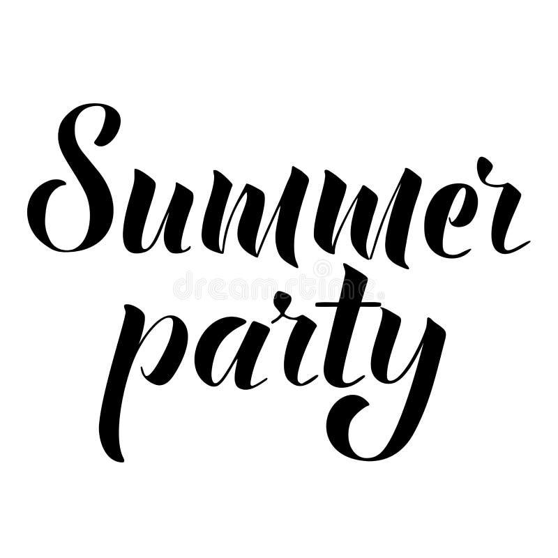 Lettrage de partie d'été Élément noir et blanc de conception pour l'affiche, carte postale Illustration de vecteur photographie stock