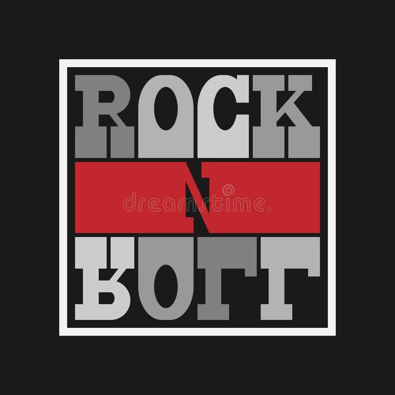 Lettrage de petit pain de la roche n Conception de mode de T-shirt Template for banner, sticker, concert flyer, music label, soun illustration de vecteur