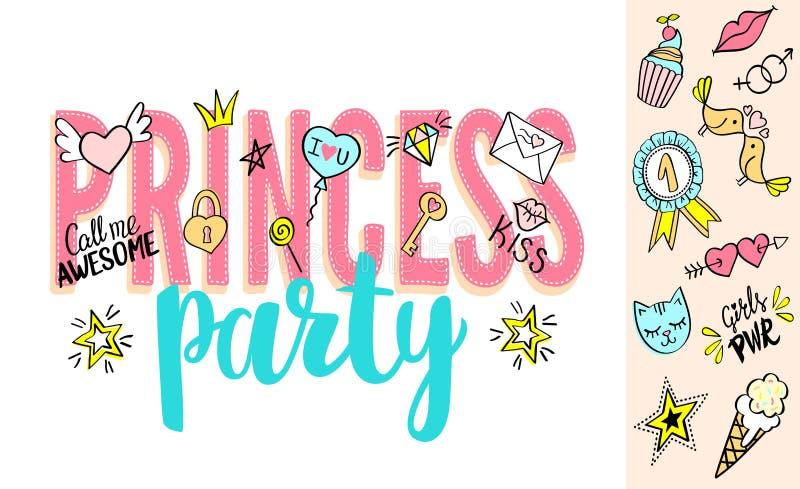 Lettrage de princesse Party avec des griffonnages girly et des expressions tirées par la main pour le design de carte de jour de  illustration libre de droits