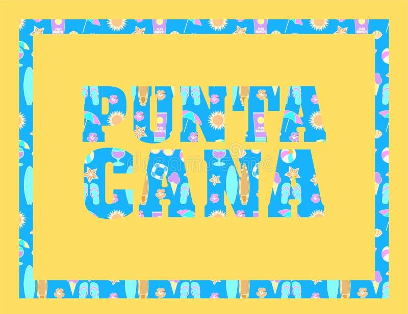 Lettrage de Punta Cana sur le backround jaune Dirigez les lettres tropicales avec les icônes colorées de plage sur le backround b photographie stock