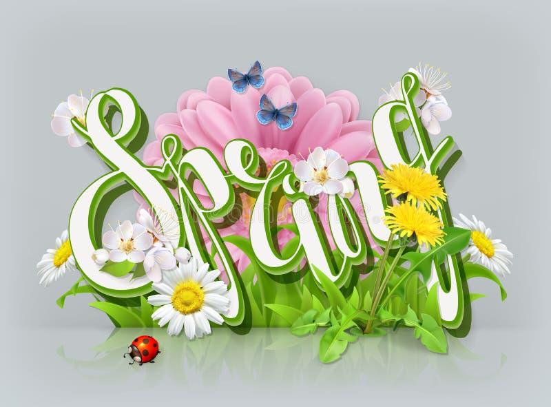Lettrage de ressort Herbe et fleurs Graphisme de vecteur illustration de vecteur