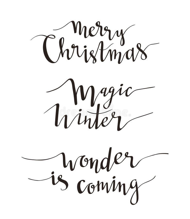 Lettrage de salutation de Joyeux Noël Conception de vacances de vecteur de saison des expressions Texte manuscrit de vecteur Coll illustration stock