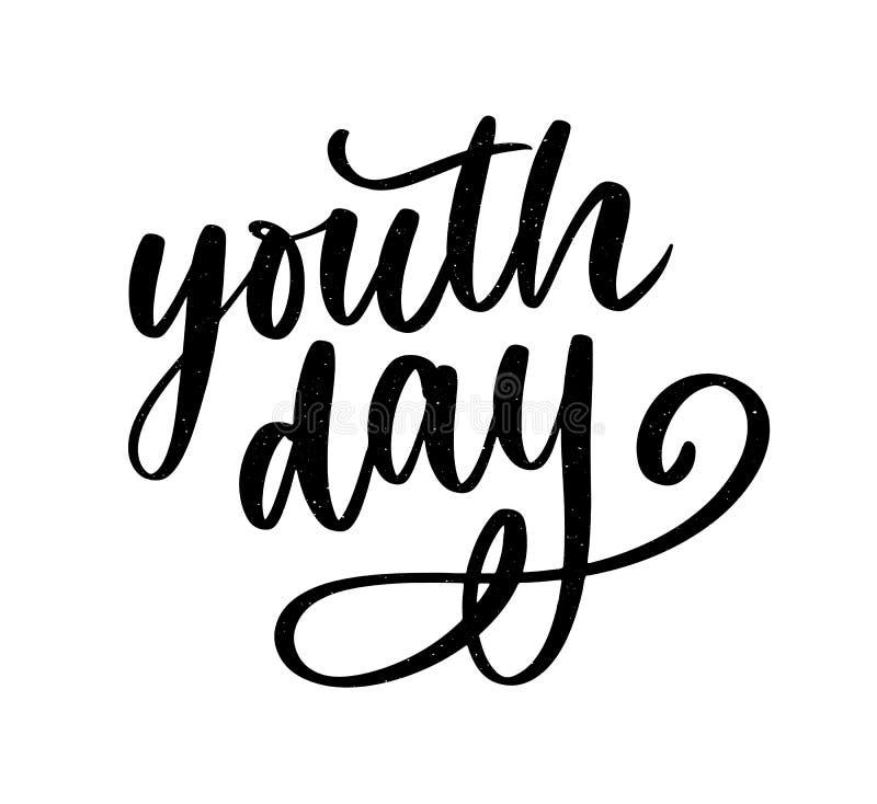 Lettrage de slogan jaune de fond de jour international de la jeunesse illustration de vecteur