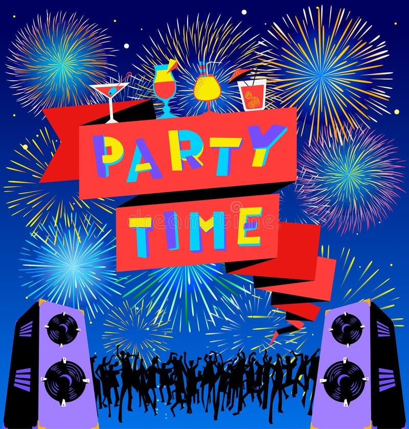Lettrage de temps de partie sur la bannière Affiche de clud de disco avec le loudspick illustration stock