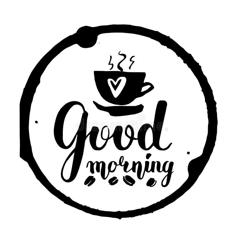Lettrage de vecteur avec bonjour grai noir des textes et de café illustration stock
