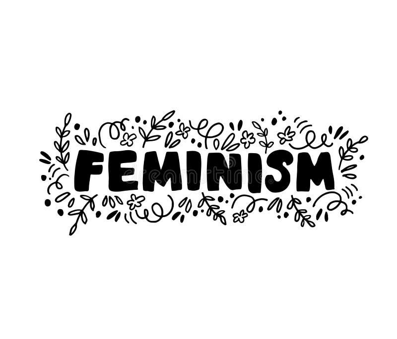 Lettrage de vecteur de brosse d'encre du féminisme illustration de vecteur