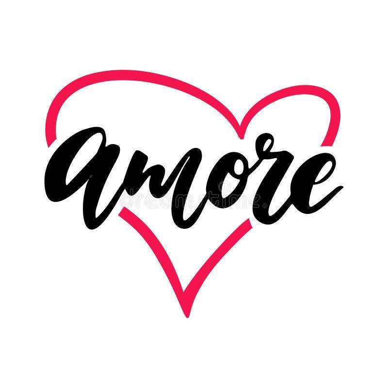 Lettrage de vecteur de jour de Valentine s Amour d'isolement de calligraphie d'écriture illustration stock