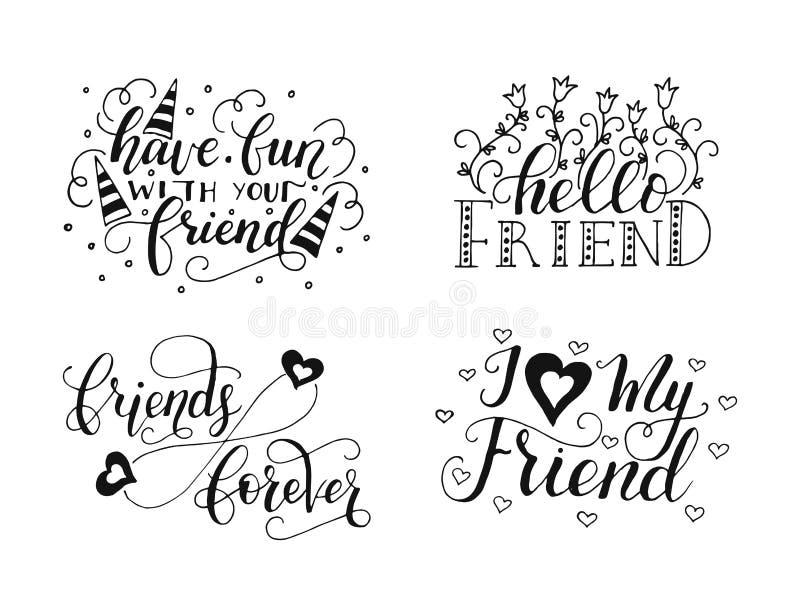 Lettrage de vecteur réglé pour le jour d'amitié Calligraphie unique tirée par la main pour des cartes de voeux illustration de vecteur