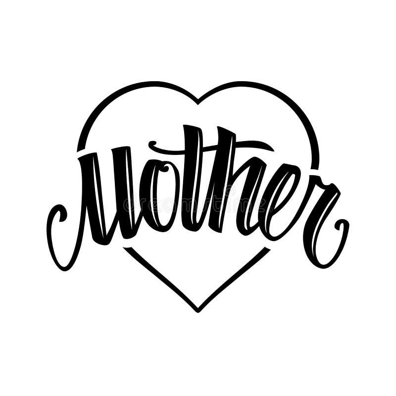 Lettrage de vecteur de style de tatouage de mère illustration stock