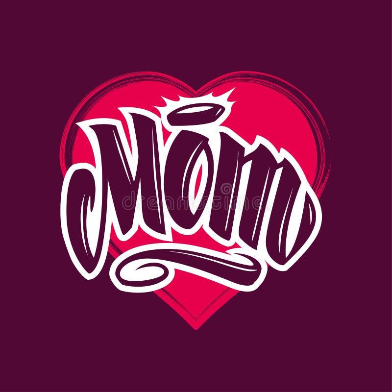 Lettrage de vecteur de style de tatouage de maman illustration stock