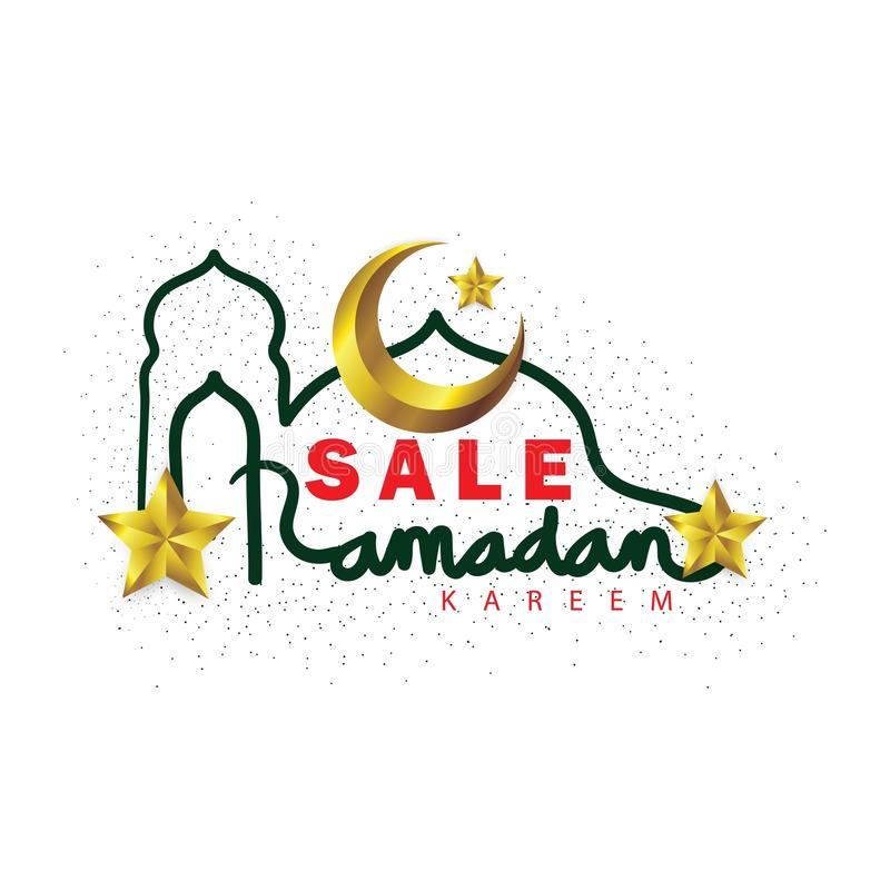 Lettrage de vente de Ramadan Kareem avec le croissant de lune et les étoiles d'or illustration libre de droits
