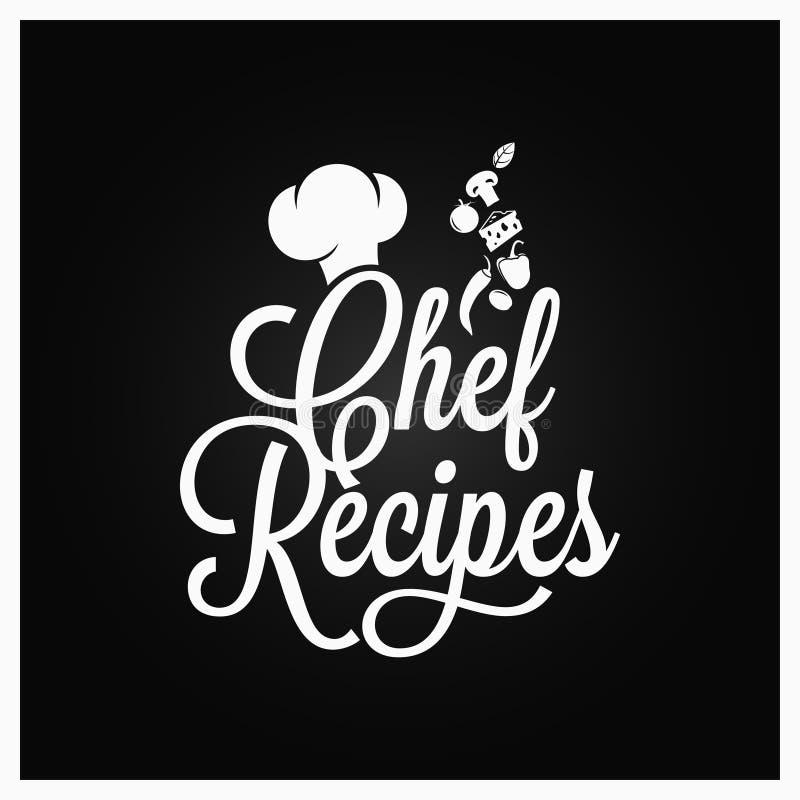 Lettrage de vintage de recettes de chef Logo de livre de recette sur le fond foncé illustration stock