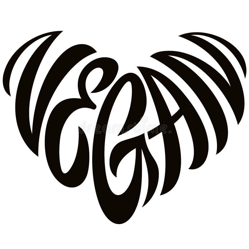 Lettrage de Word de Vegan d'amour sous forme d'emblème de coeur illustration stock