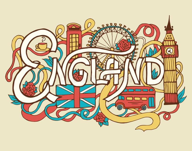 Lettrage et griffonnages de main d'abrégé sur art de l'Angleterre illustration de vecteur