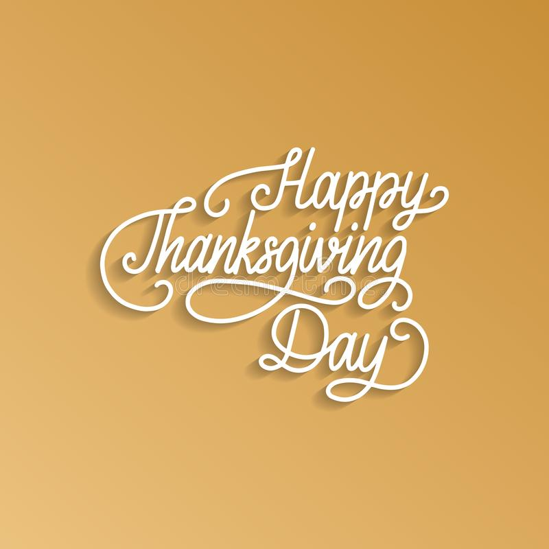 Lettrage heureux de jour de thanksgiving Dirigez l'illustration pour l'invitation ou le calibre de fête de carte de voeux illustration de vecteur