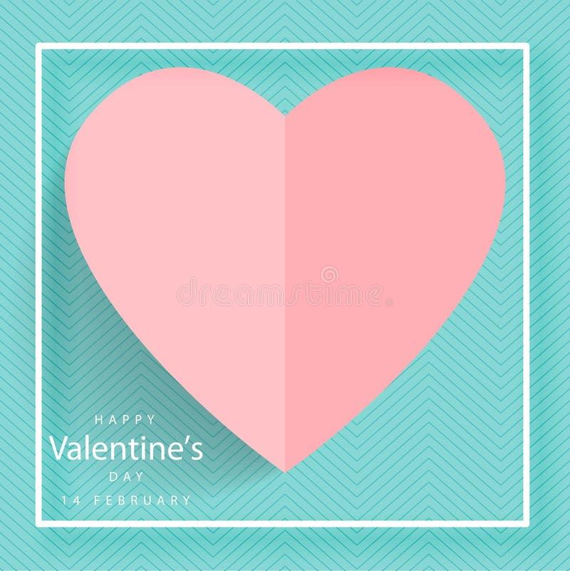 Lettrage heureux de jour de valentines avec les coeurs de papier coupés sur le fond bleu illustration de vecteur