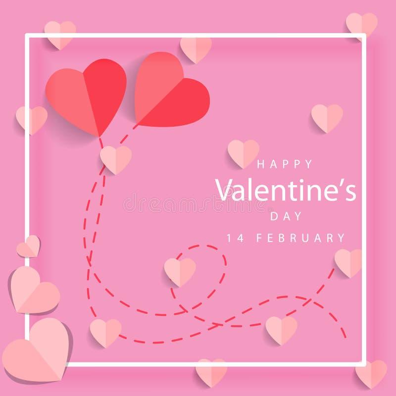 Lettrage heureux de jour de valentines avec les coeurs de papier coupés sur le fond rose illustration de vecteur