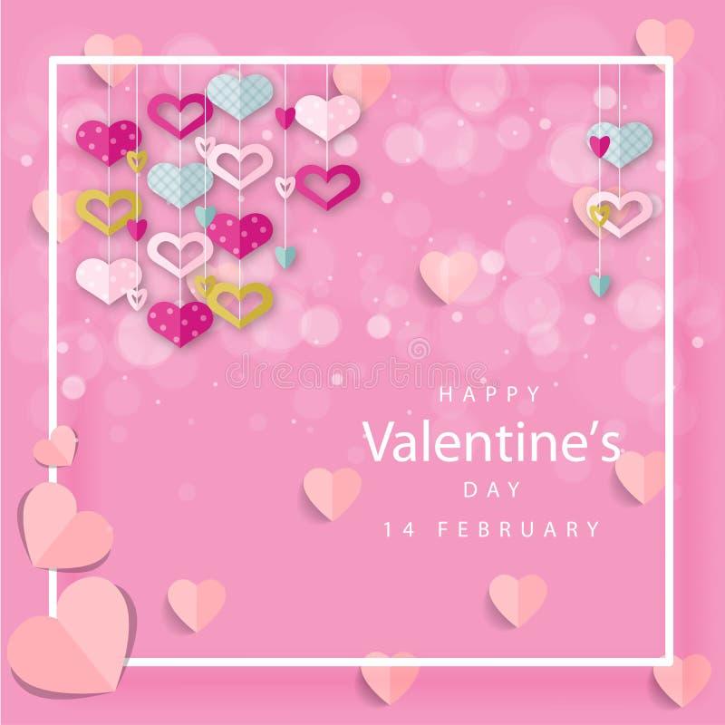 Lettrage heureux de jour de valentines avec les coeurs de papier coupés sur le fond rose illustration libre de droits