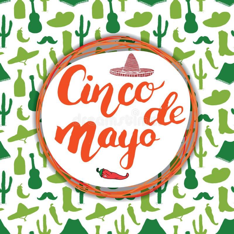Lettrage heureux de main de carte de voeux de Cinco de Mayo Vacances mexicaines Illustration de vecteur illustration de vecteur