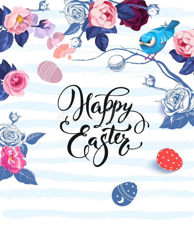 Lettrage heureux de Pâques écrit avec la police calligraphique, les groupes de roses et le petit oiseau se reposant sur la branch illustration de vecteur
