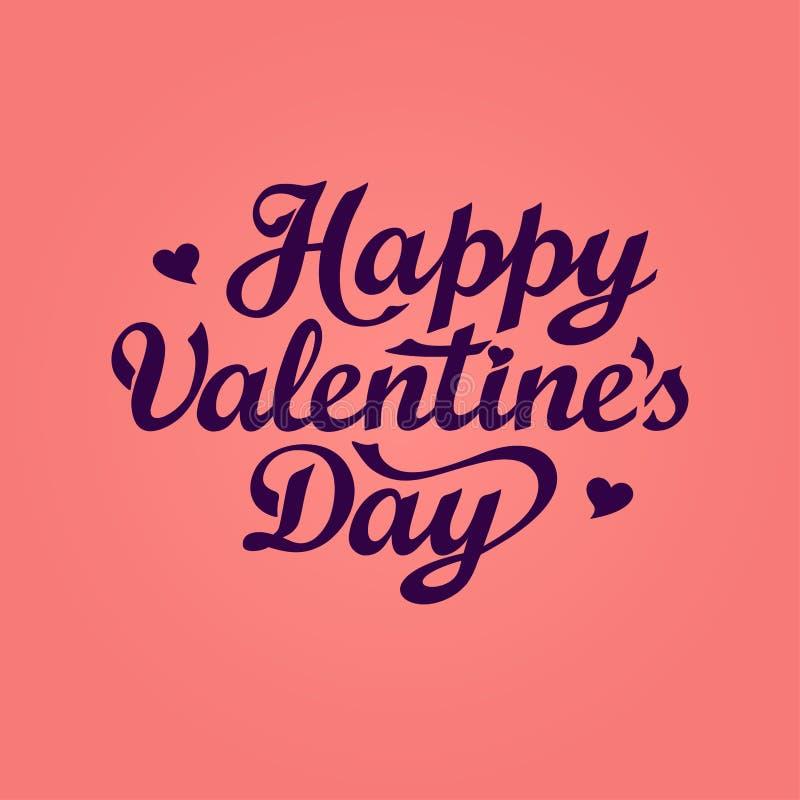 Lettrage heureux de Saint-Valentin Calibre de carte de voeux de jour de valentines avec le texte tiré par la main illustration libre de droits