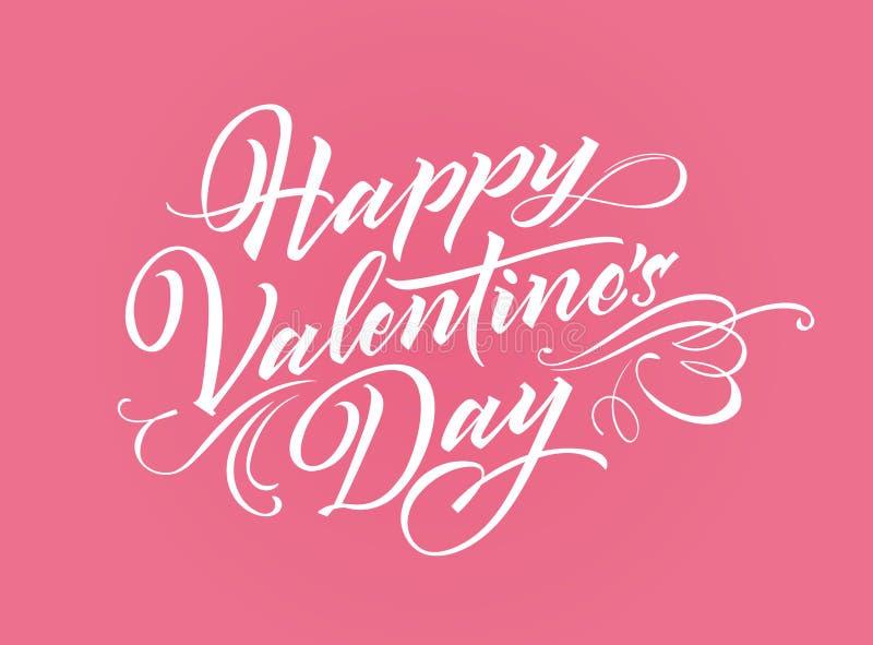 Lettrage heureux de Valentine Day illustration stock