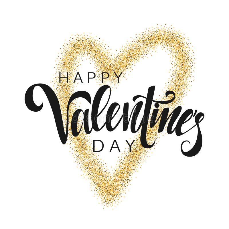 Lettrage heureux de vecteur de Saint-Valentin Carte de voeux écrite par main pour la Saint-Valentin Calligraphie moderne Coeur br illustration libre de droits
