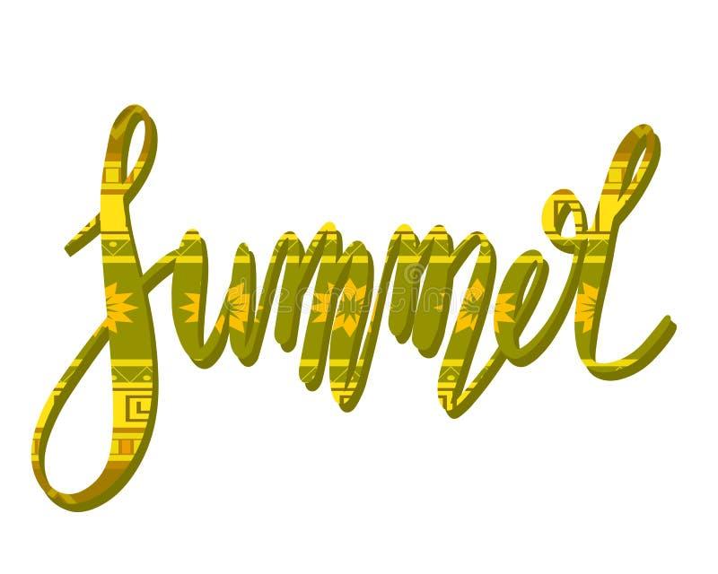 Lettrage manuscrit d'été avec le modèle tribal Inscription calligraphique avec la décoration ?l?ment de calligraphie de vecteur illustration libre de droits