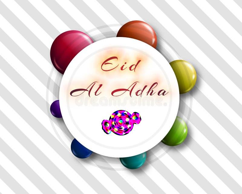 Lettrage manuscrit d'Eid al-Adha avec la forme de sucrerie pour l'eid Mubar illustration de vecteur
