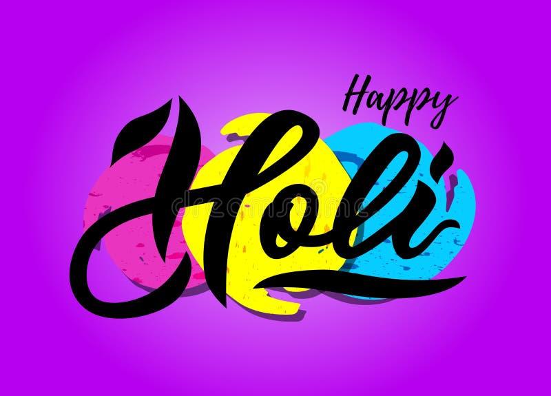 Lettrage manuscrit de Holi heureux sur des taches d'aquarelle Fond pourpre illustration libre de droits