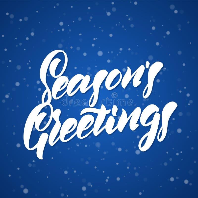 Lettrage moderne élégant tiré par la main de brosse des salutations du ` s de saison sur le fond bleu de snoflakes illustration libre de droits