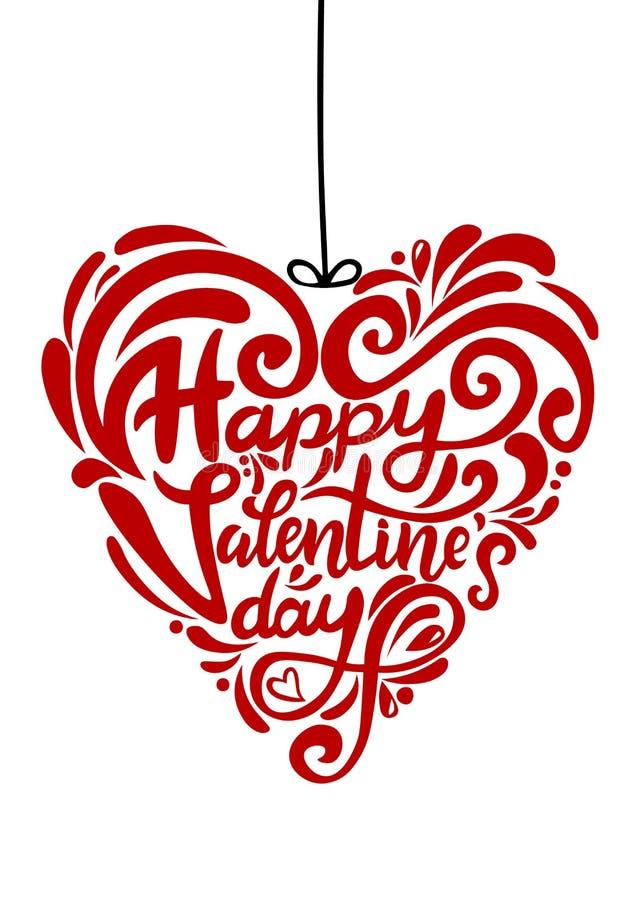 Lettrage moderne élégant tiré par la main de brosse de jour de valentines heureux Forme de coeur illustration stock
